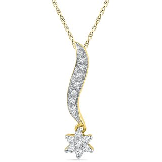 Ishis 18 Kt Artistic Yellow Gold Diamond Fashion Pendants (0.20 CT)