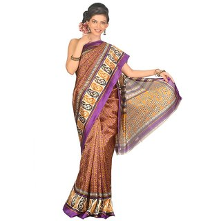 14Fashions Multicolor Polyester Geometric Print Saree With Blouse
