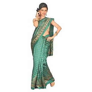 14Fashions Green Polyester Dotted Saree With Blouse