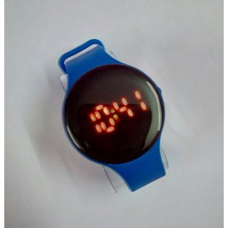 Round Dial Digital led band watch for kids By InstaDeals (Blue)