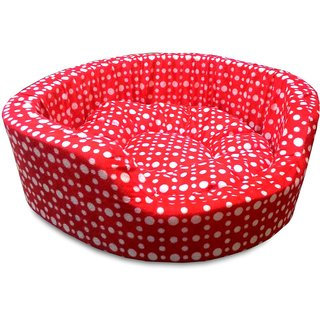 Dog Bed Dots Red Small