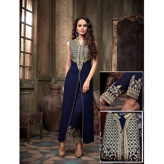 Thankar Navy Blue And Cream Embroidered Georgette Anarkali Suit
