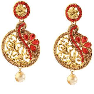 Kriaa Red Crystal with polki Beguiling Dangler Earrings - 1307406C