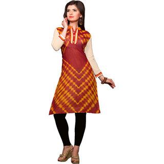 Manvaa Multi color Straight Net,Georgette Embroidered womens kurti