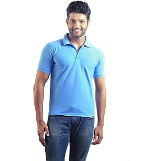 6thCross Solid Mens Polo Neck Blue T-Shirt