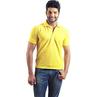6thCross Solid Mens Polo Neck Yellow T-Shirt