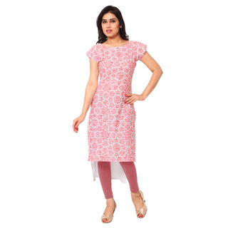 AHALYAA Pink Color Half Sleve And Boat Neck Faux Crepe Kurti