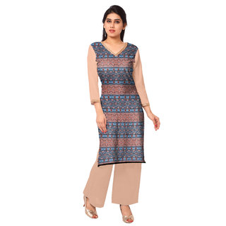AHALYAA Multi Color 3/4th Sleeve And V Neck Faux Crepe Kurti