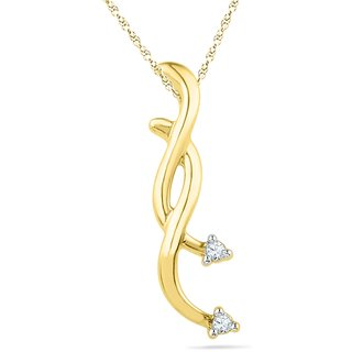 Ishis 18 Kt Designer Yellow Gold Diamond Fashion Pendants (0.02 CT)