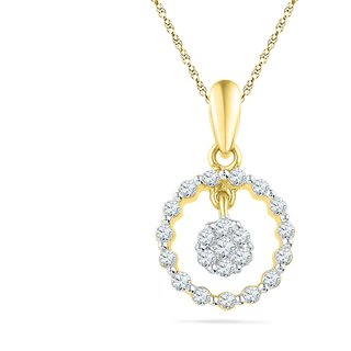 Ishis 18 Kt Pretty Yellow Gold Diamond Fashion Pendants (0.20 CT)