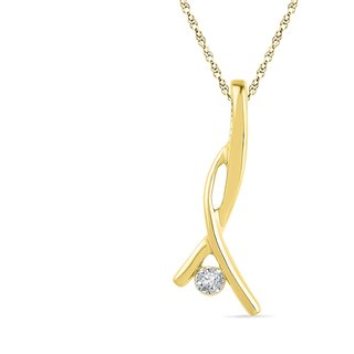Ishis 18 Kt Traditional Yellow Gold Diamond Fashion Pendants (0.01 CT) - Design 1