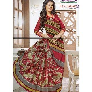 Shankari Enterprises Red Cotton Block Print Saree With Blouse