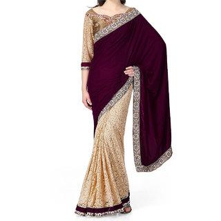 Womens Brasso  Net Saree (JNE0641.D Multi-Coloured)