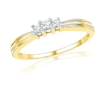 Ishis 18 Kt Ethnic Yellow Gold Diamond Fashion Ring (0.16 CT)