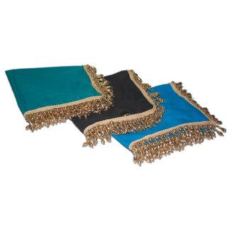 Ladies handkerchief designer ethnic pack of 3,  blue green black