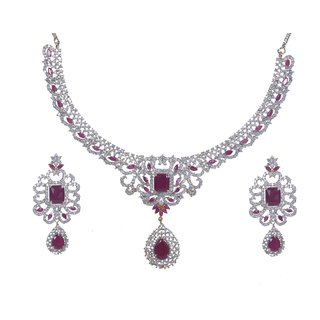 Handluv Delicious Gold and Rhodium Plated Ruby Studded AD Necklace set
