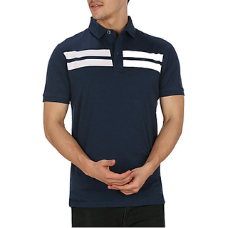 navy colored, cotton printed polo t- shirt By Mudo