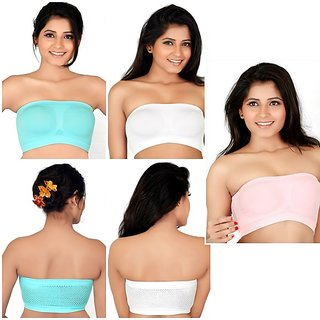 Hothy Wirefree Non-Padded Strapless Tube Bra (Pack Of 3)