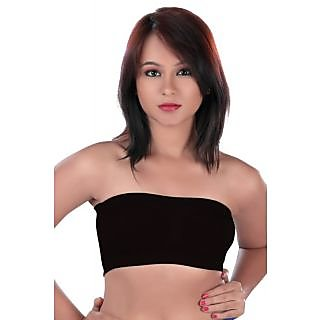 5880baf560 College Girl Seamless Strapless Bandeau Top Tube Bra Lingerie - Free Size -  Black (Set of 2)