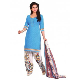 Women Shoppee Synthetic Printed Salwar Kameez Material
