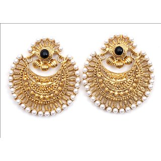 High Fashion Earrings for Women Ladies Party-wear Pearl Bollywood style Black