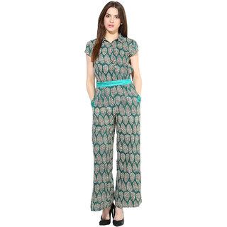 Shakumbhari Green Crepe Printed Jumpsuit