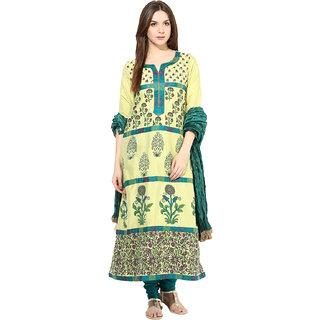 Shakumbhari Green Silk Floral Salwar Kameez With Dupatta