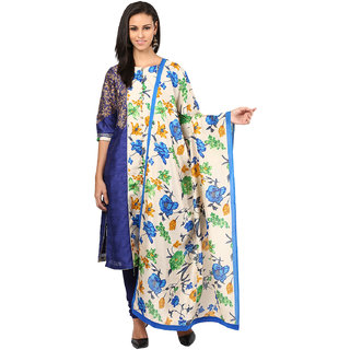 Shakumbhari Blue Silk Floral Churidar Kurta With Dupatta