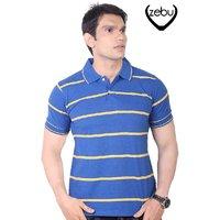 Zebu Royal Blue & Golden Yellow Pique Striped Collar Polo T-Shirt