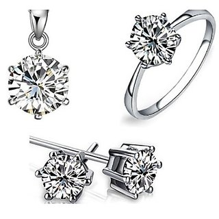 Joovaa Crystal Rhodium Plated Pendant Earring and Ring Combo Set