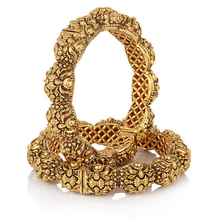 Jewels Galaxy Royal Style Broad Gold Plated Antique Bangles-JG-BNG-365
