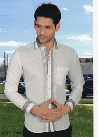 Grahakji Men's Purple Slim Fit Casual Poly-Cotton Shirt