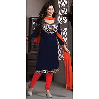 Multi Retail Blue Embroidered Cotton Semi Stitched Dress Material With Dupatta