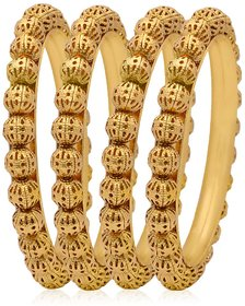 Jewels Galaxy Gold Plated Gold Alloy Bangles for Women- Set Of 4-JG-BNG-460-1
