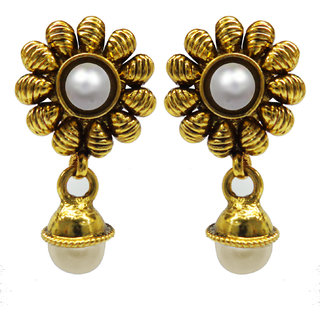 Jewelscart Traditional Antique Gold Plated White Pearl Drop Earring