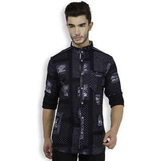 The Indian Garage Co. Navy Blue Slim Roll Up Sleeve Mens Casual Shirt