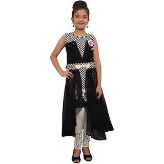 Titrit Black flowery long cape dress with legging
