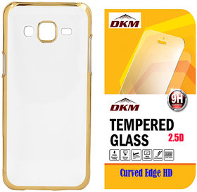 Soft Gold Plated Back Cover for Samsung Galaxy J1 with 25D HD Tempered Glass