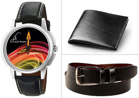 Combo of Stylish Graphic-1202 Watch, Leather Belt And Leather Wallet