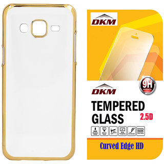 Soft Gold Plated Back Cover for Samsung Galaxy J5 with 25D HD Tempered Glass