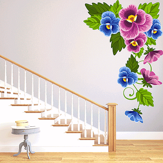 DeStudio Blue Corner Floral Wall Stickers (Wall Covering Area  110cm X 71cm)