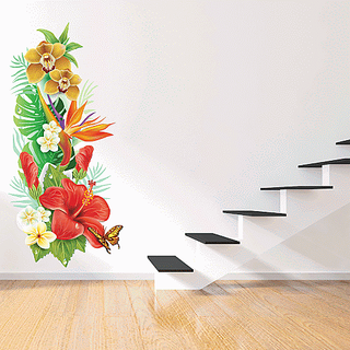 DeStudio Flowers Buke Multi Color Wall Stickers (Wall Covering Area  50cm X 110cm)