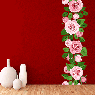 DeStudio Pink Rose Vine Multi Color Wall Stickers (Wall Covering Area  30cm X 185cm)