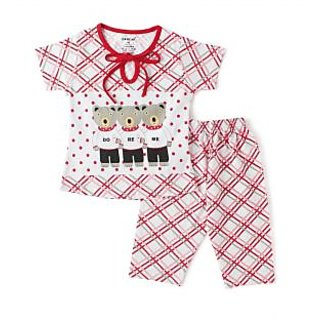 Doreme Red 3 Bear Print Girls T-Shirt And Pant Night Suit