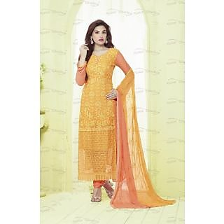 Thankar Orange  Peach Embroidered Chiffon Straight Suit