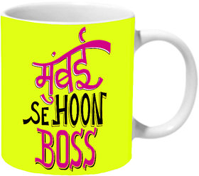 Mooch Wale Mumbai Se Hoon Boss Yellow Baground Ceramic Mug