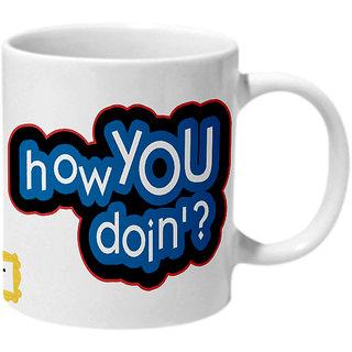 Mooch Wale Friends Joey How You Doin Blue And White Typo Ceramic Mug