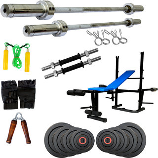 Fitfly Mutiexercise 5 In 1Bench With 15 Kg Olympic Olympic Rubber Plates+7Ft Olympic Plain Rod And 5Ft Olympic Plain Rod For Home Exercise