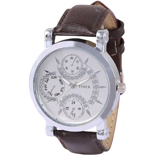 Timer Designer White Dial Analog Mens Watch