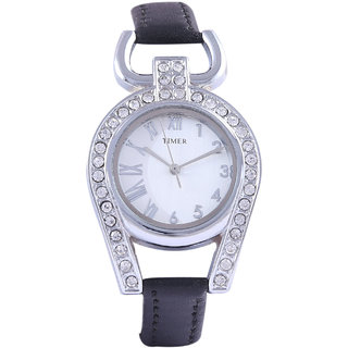 Timer Designer White/Black  Analog Girls Watch